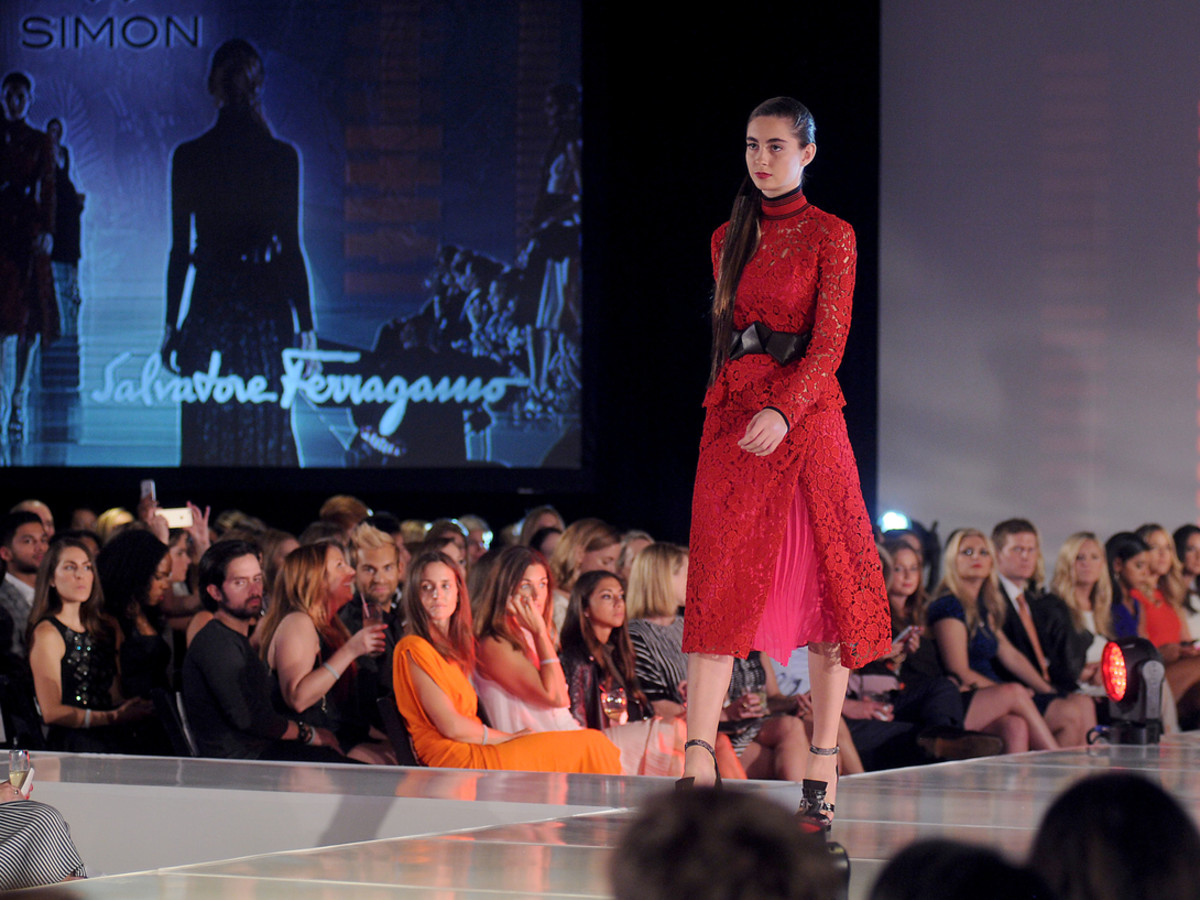Houston, Vogue Simon Fashion Show, September 2015, model in Salvatore Ferragamo