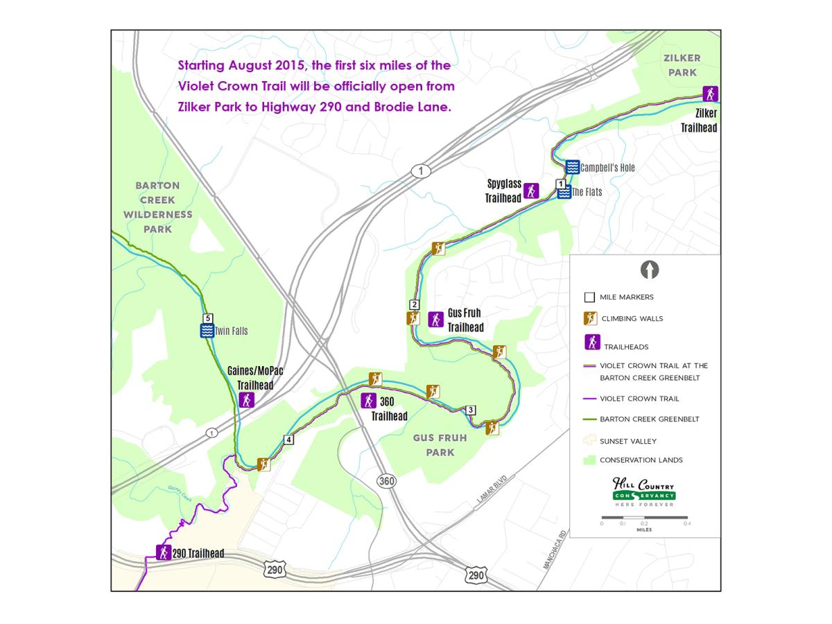 Violet Crown Trail first segment map August 2015