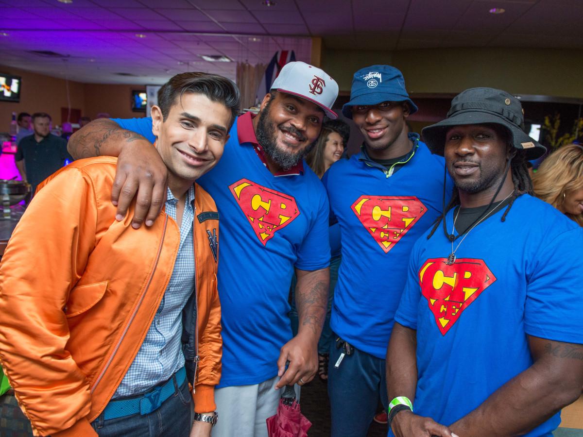 Chester Pitts bowling event Taseer Badar, Travis Johnson, Alfred Blue, Joseph Addai