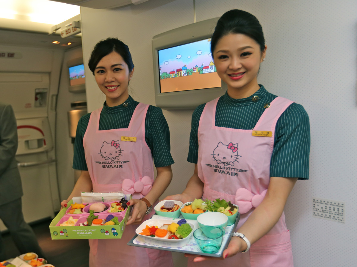 EVA Air Hello Kitty jet stewardesses