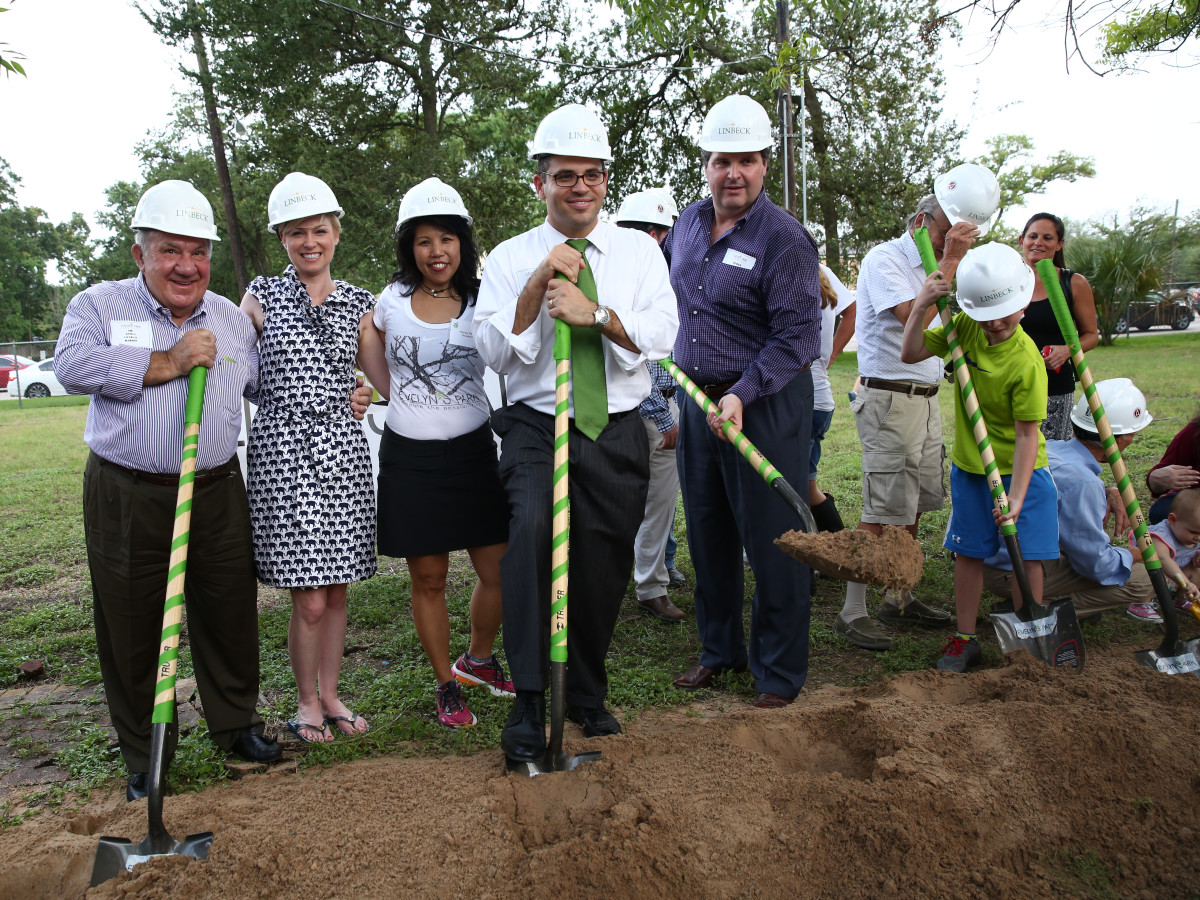 News, Shelby, Evelyn's Park groundbreaking, June 2015, Jim Avioli, Sarah Davis, Patricia Ritter king, Andrew Friedberg, Roman Reed