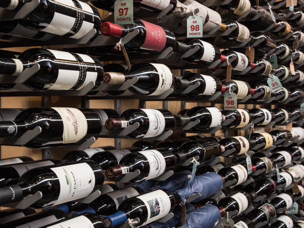 Central Market Houston wine wall