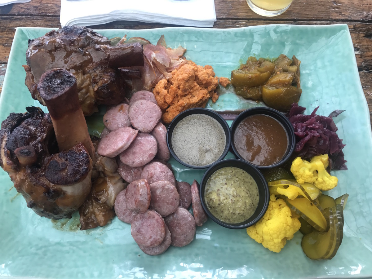Heights Bier Garten pork shank platter