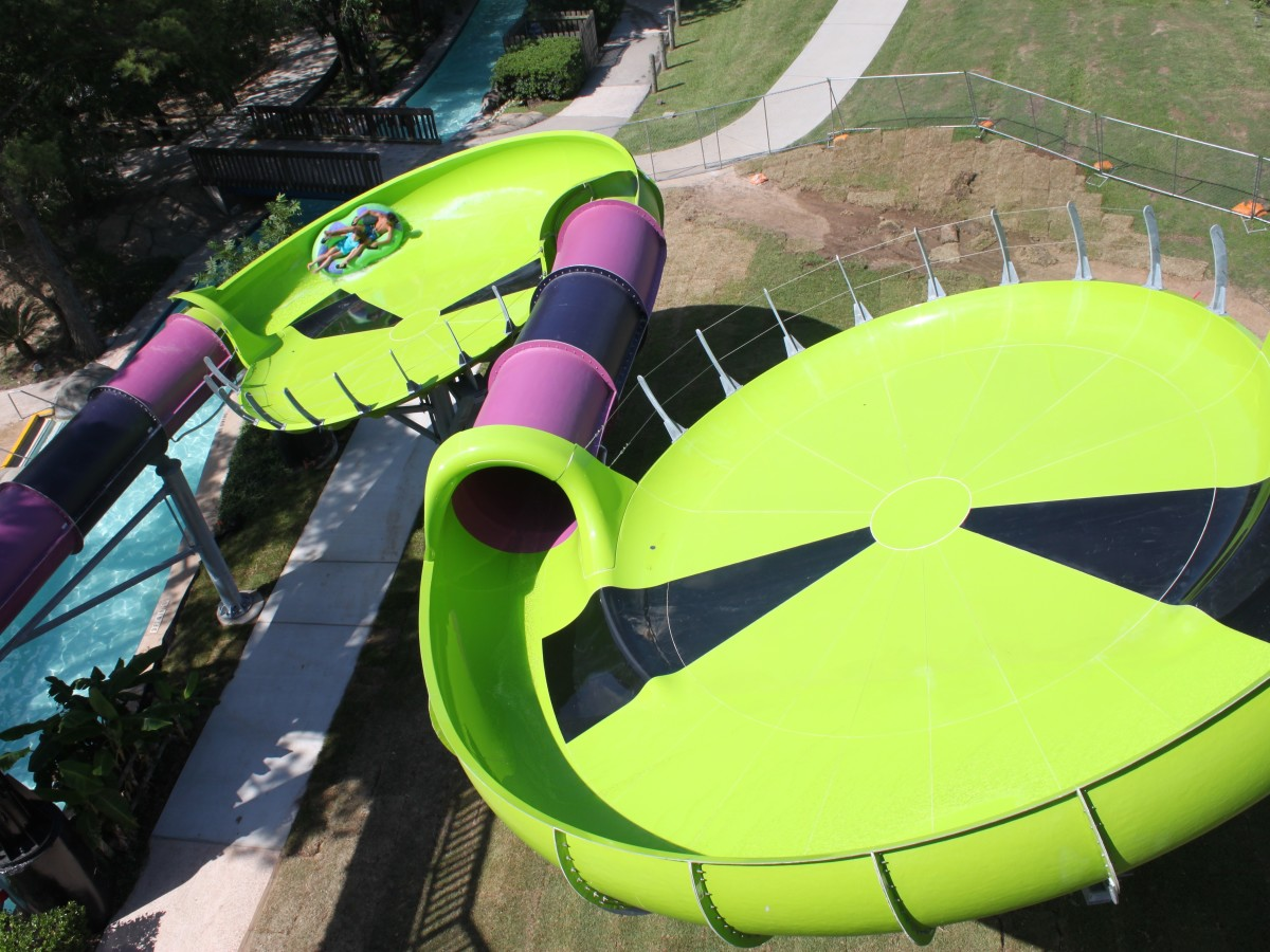 Houston, SplashTown Alien Crasher aerial view of double saucer, June 2017