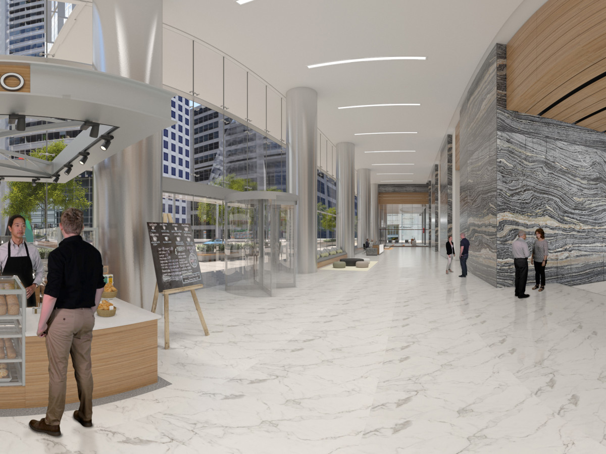 Capitol Tower lobby in VR rendering