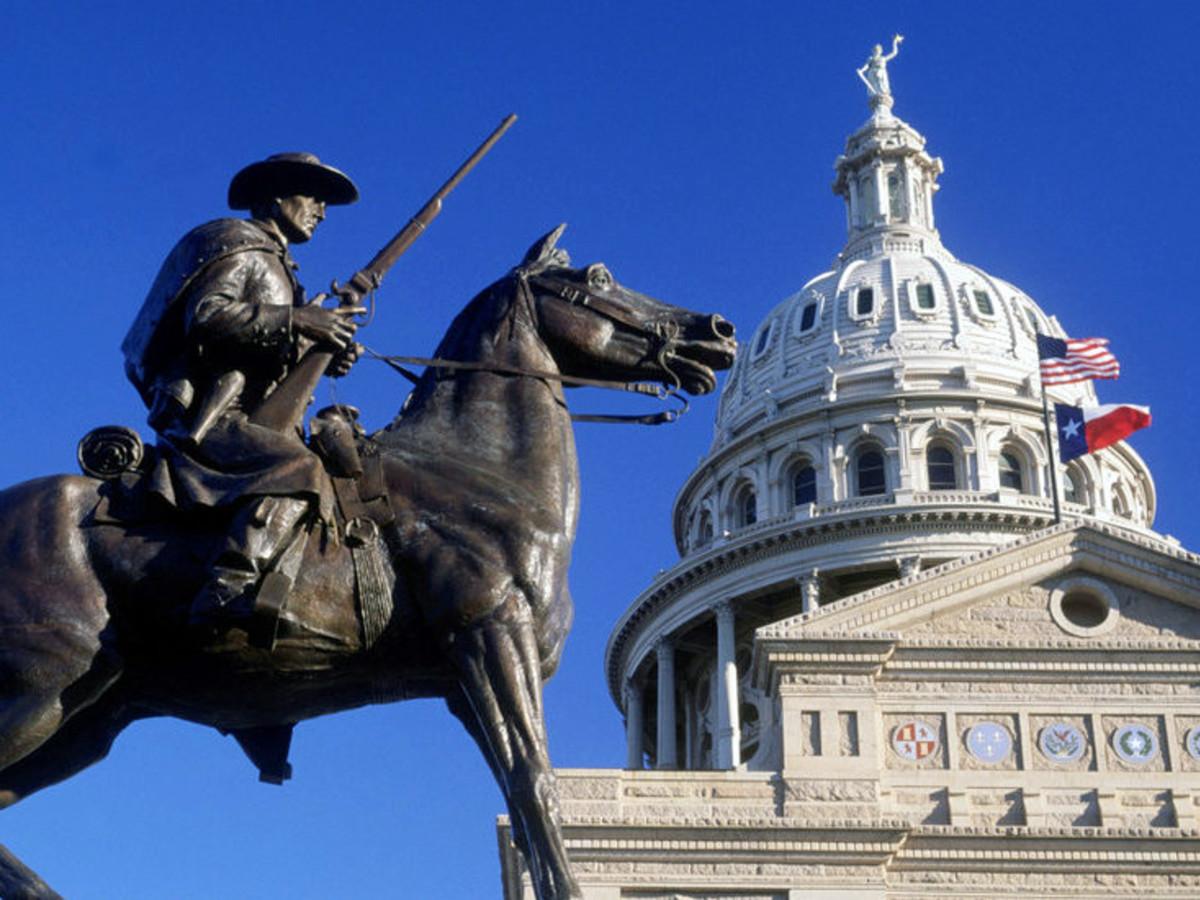 Houston, Austin capital with Texas flag, July 2017
