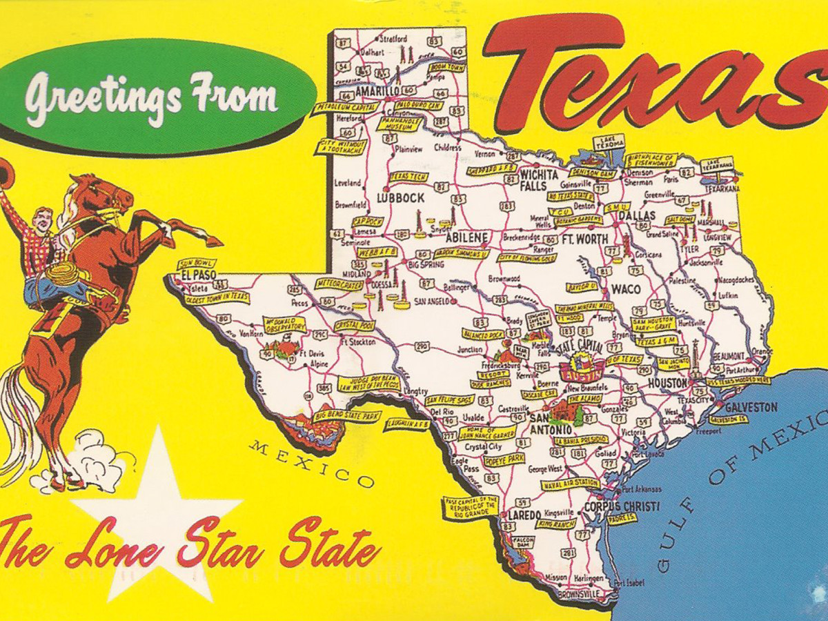 Texas, postcard, state map, greetings