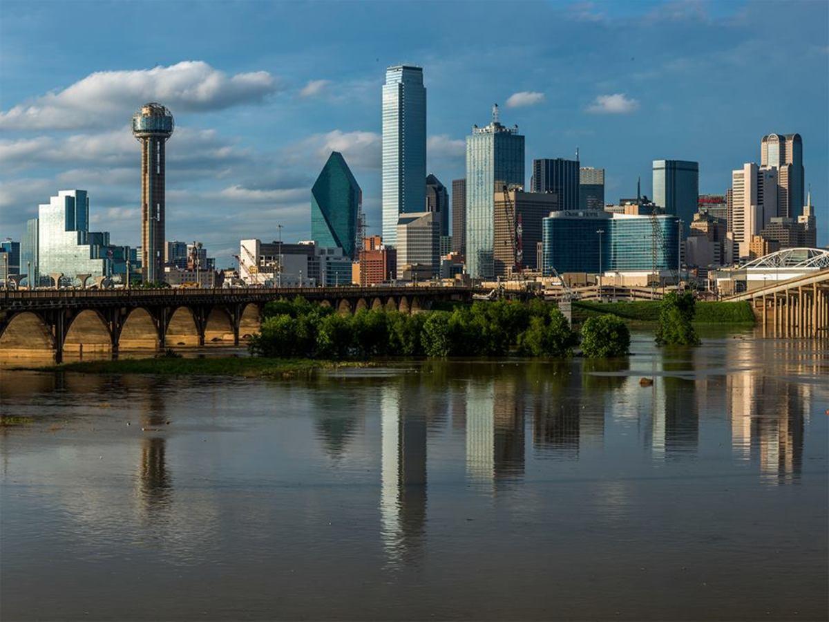 Dallas, city, skyline, Trinity