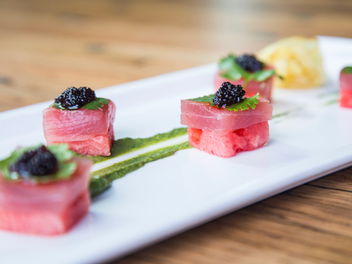 A'Bouzy watermelon and tuna sashimi