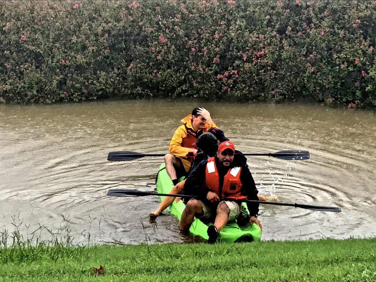 Houston, Hurricane Harvey, flood photos, kayak at allen parkway