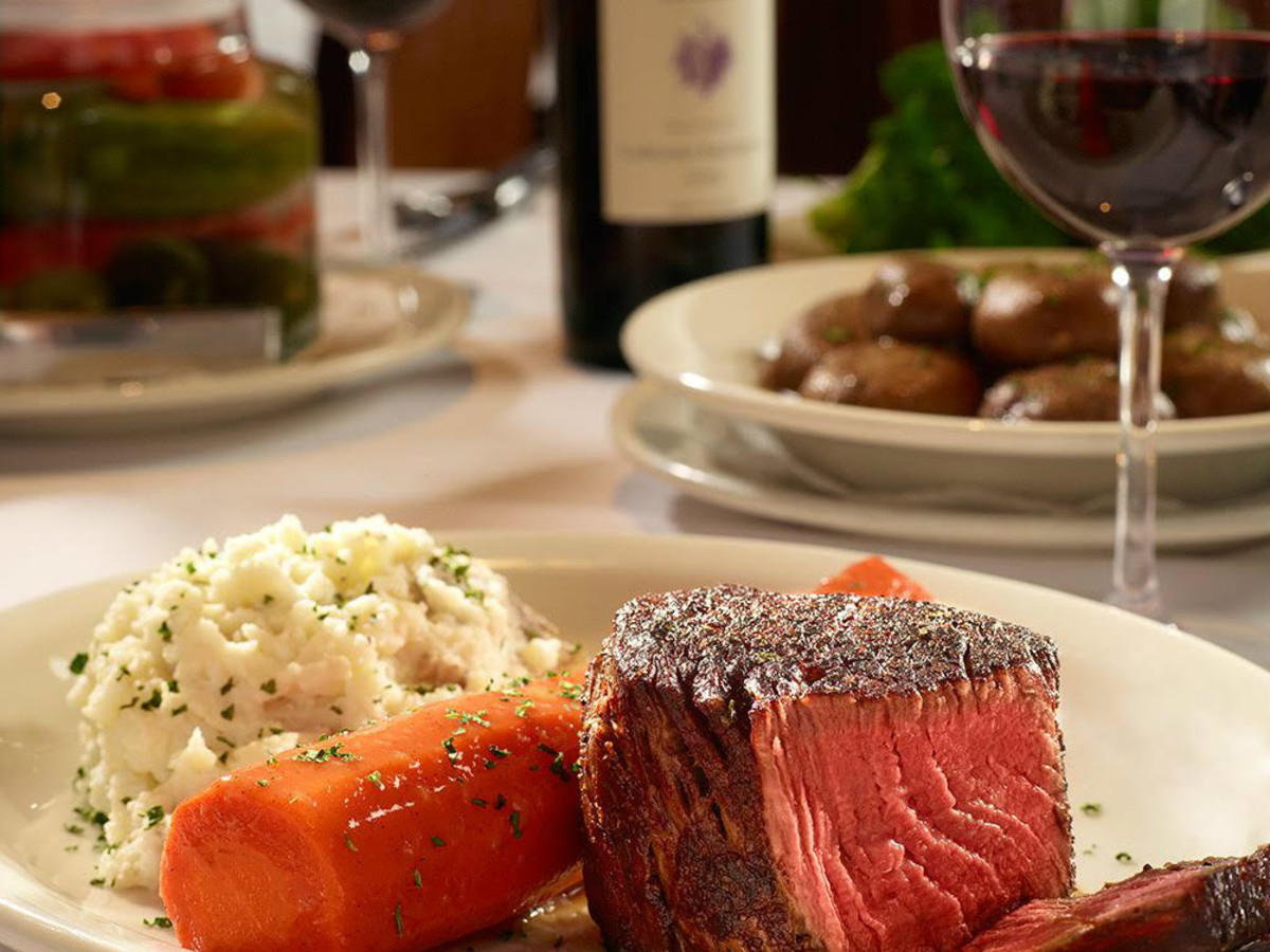 Steak and a glass of red wine