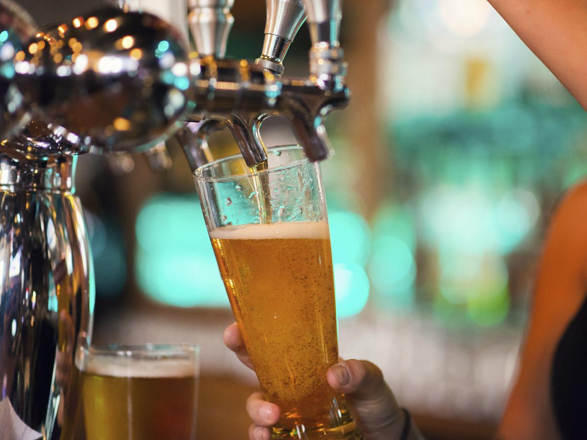 Beer tap at a bar