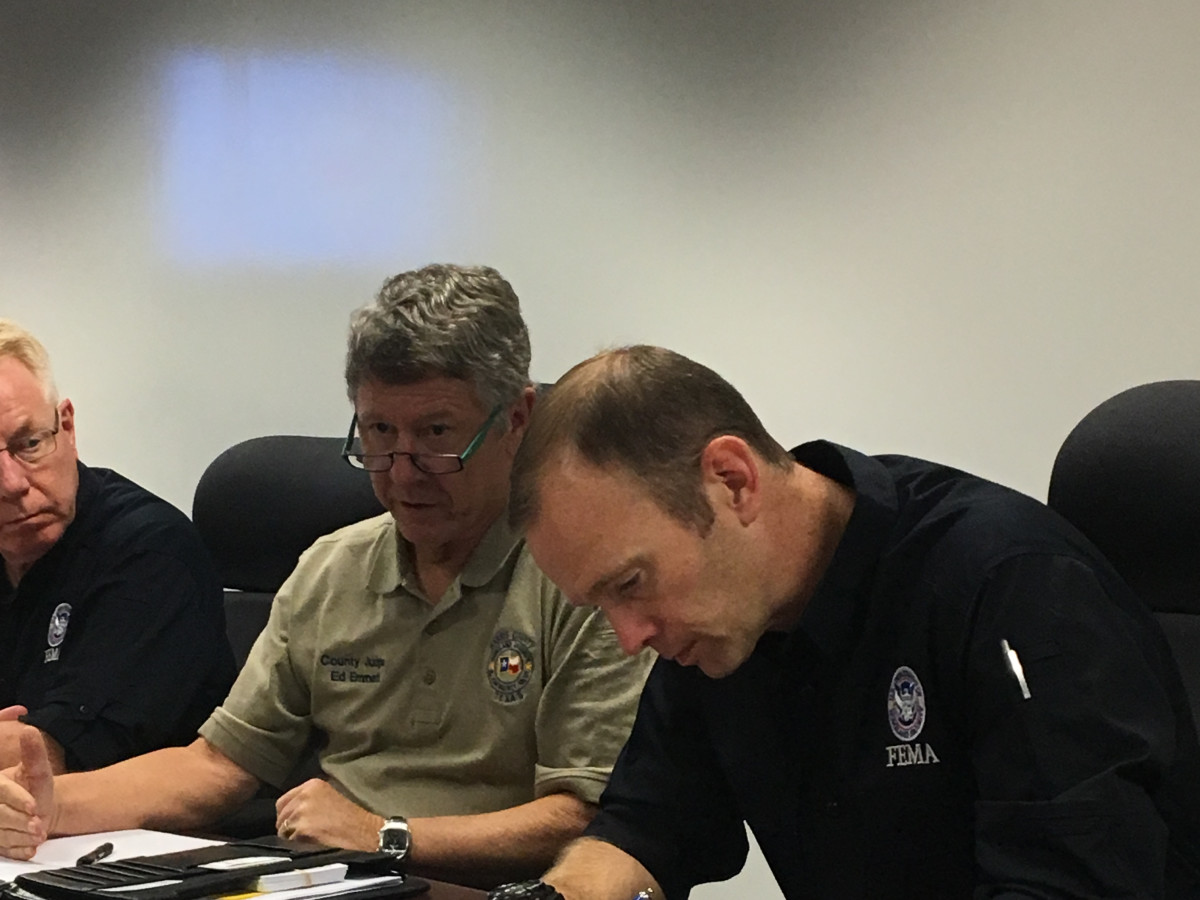Harris County Judge Ed Emmett with FEMA director Brock Long after Hurricane Harvey