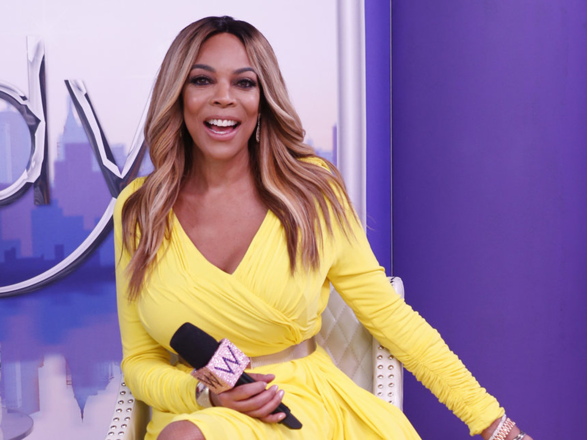 Wendy Williams in Cesar Galindo yellow dress for premiere of her 9th season TV show