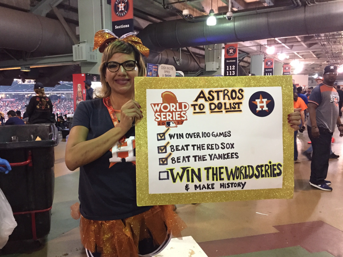 Sandra Martinez at World Series game 7 watch party at Minute Maid Park