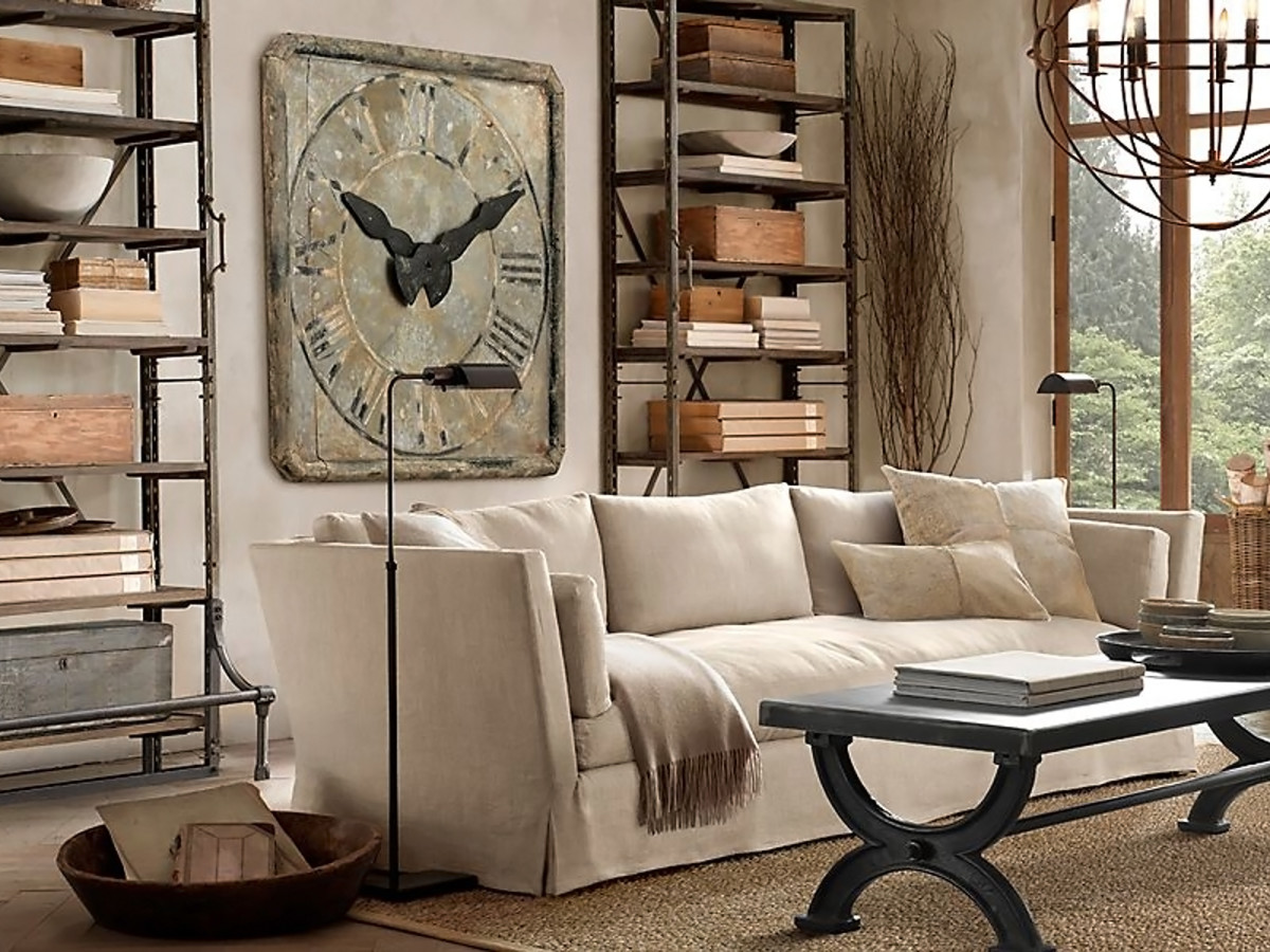 Restoration Hardware Grand Saint Etienne stone wall clock