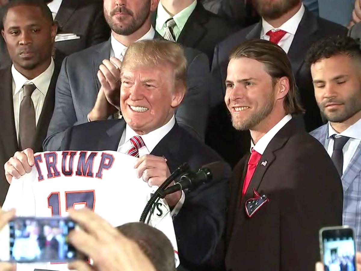 President Trump holding Astros jersey