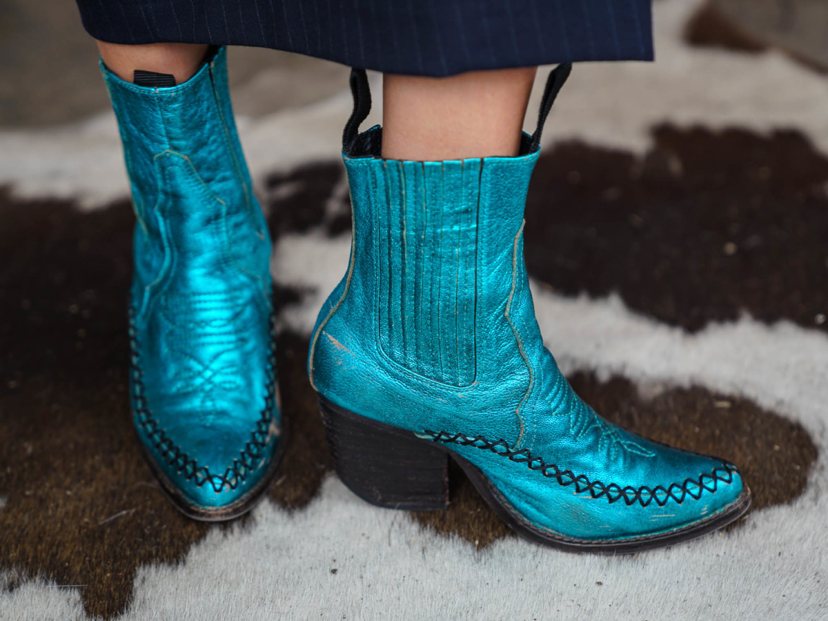 SXSW Street Style 2018 Madison Rozakos Jeffrey Campbell Teal Boots