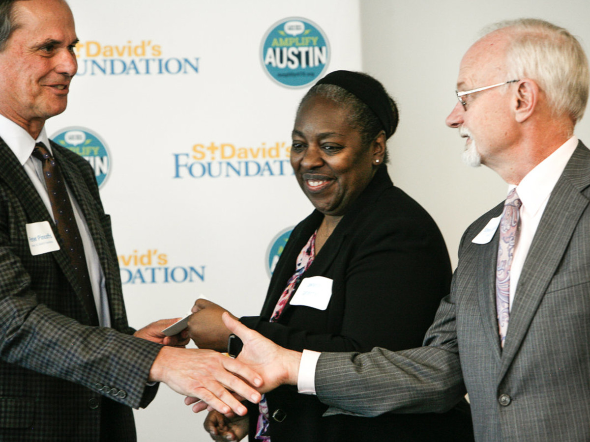 Peter Pinoffs, Board Chair St. David's Foundation, Jawana Gutierrez and Stephen Jackobs, Capital Idea