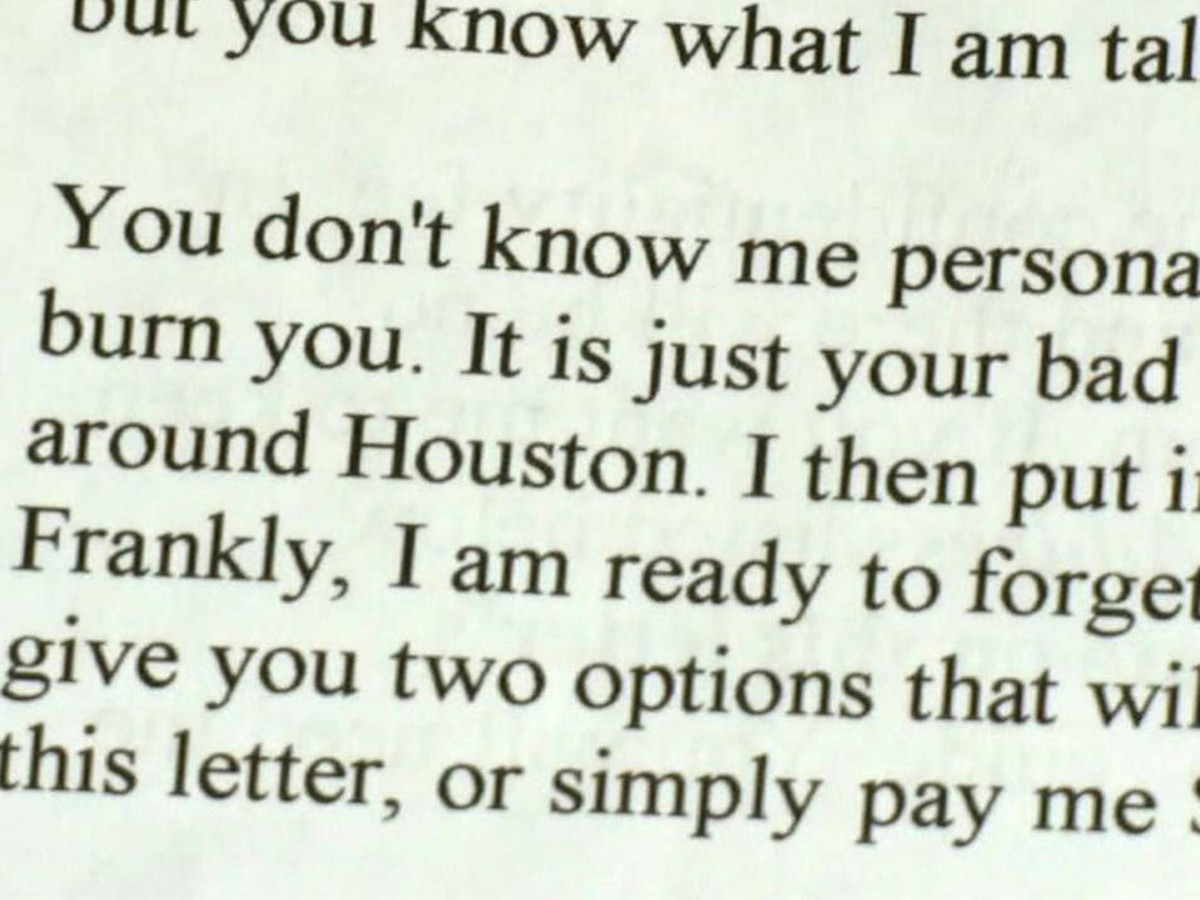 Houston scam letter alert David Audrey Gow