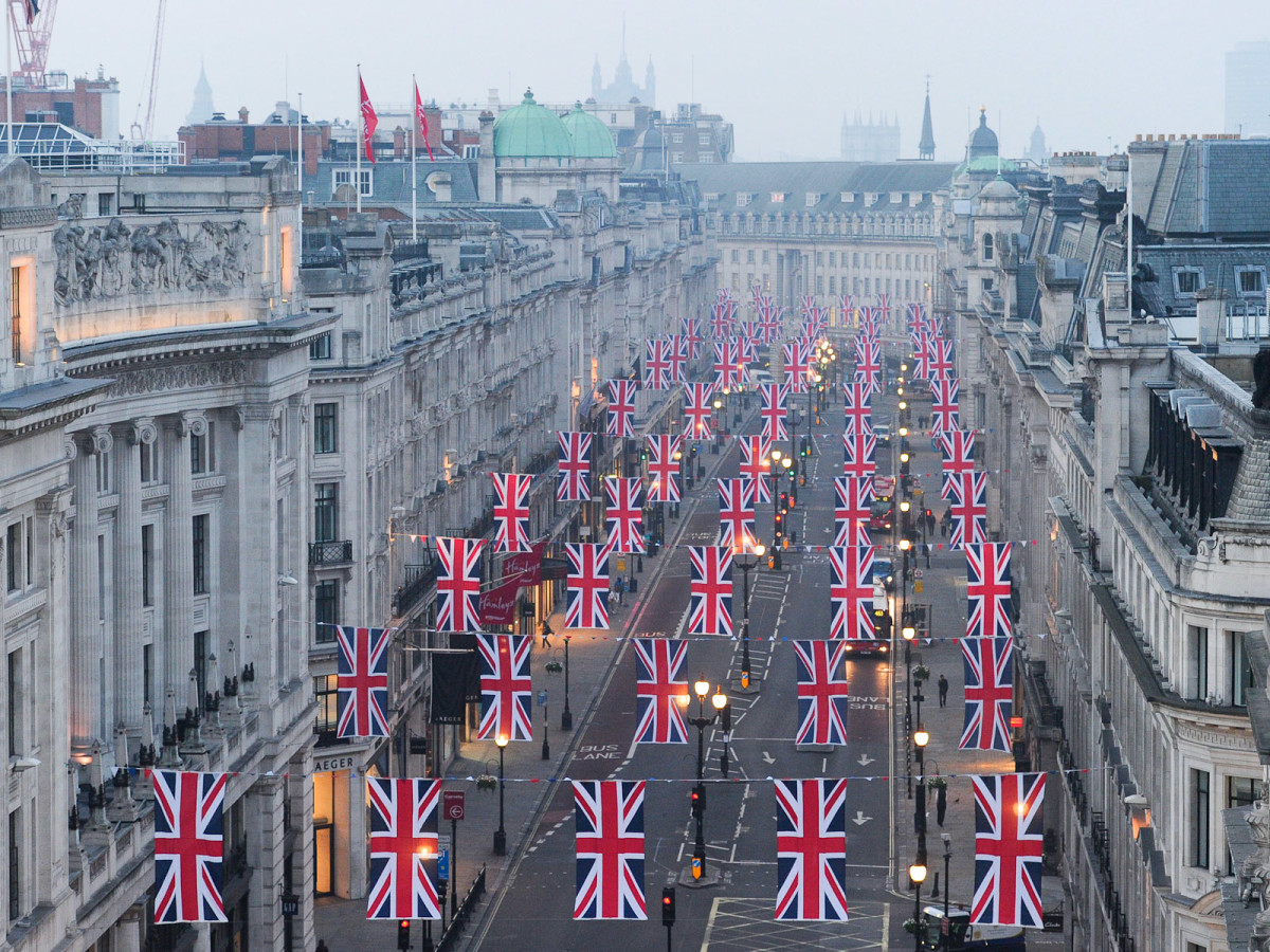 News_Royal Wedding_British flags_Regent Street