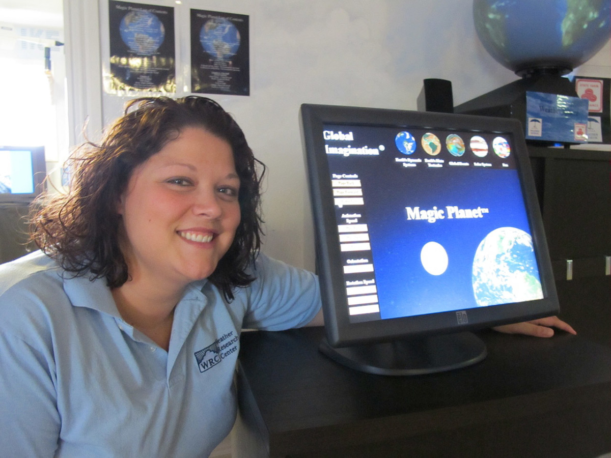 News_Katie_Weather Museum_Executive Director_Meteorologist_Maureen Maiuri_in her favorite room in the Weather Museum_The Weather Sphere