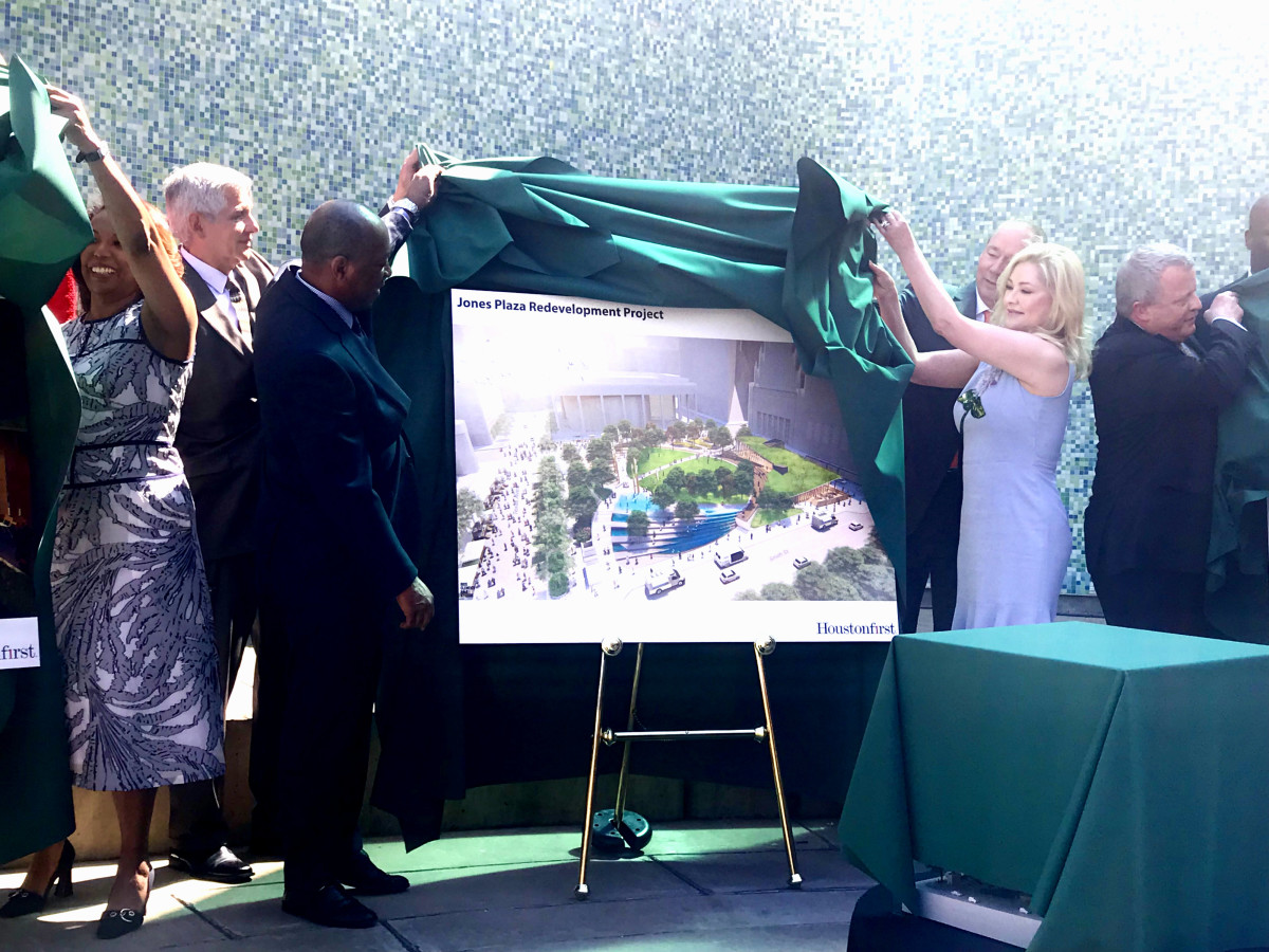 Jones Plaza redevelopment Mayor Turner Jim Crane Whitney Crane unveil