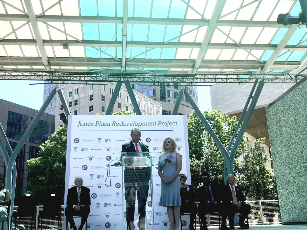 Jones Plaza redevelopment Jim Crane Whitney Crane Sylvester Turner speech