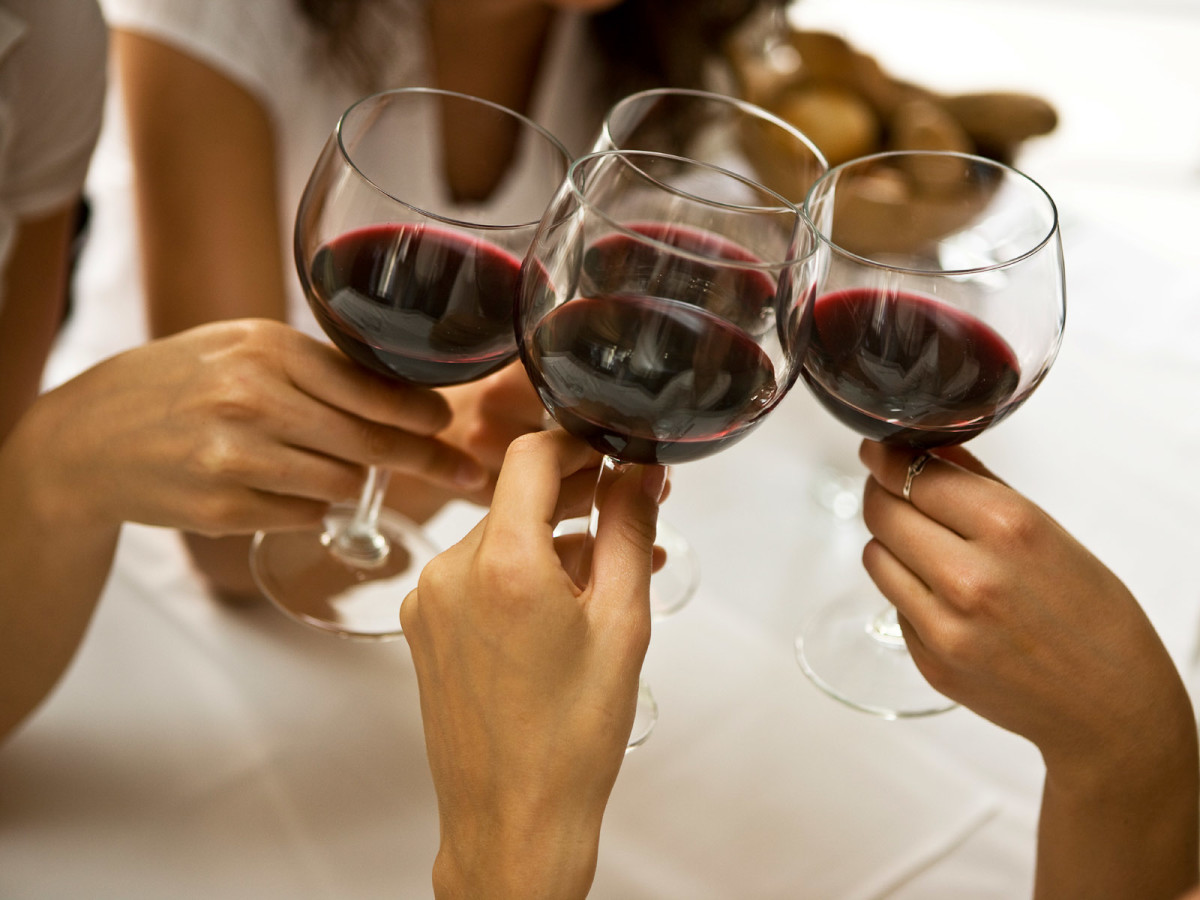 Girls toasting with wine glasses