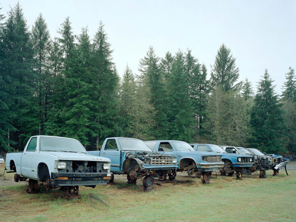News_FotoFest 2010_Road to Nowhere_Eirik Johnson_Junked Blue Trucks, Forks, Washington_2007