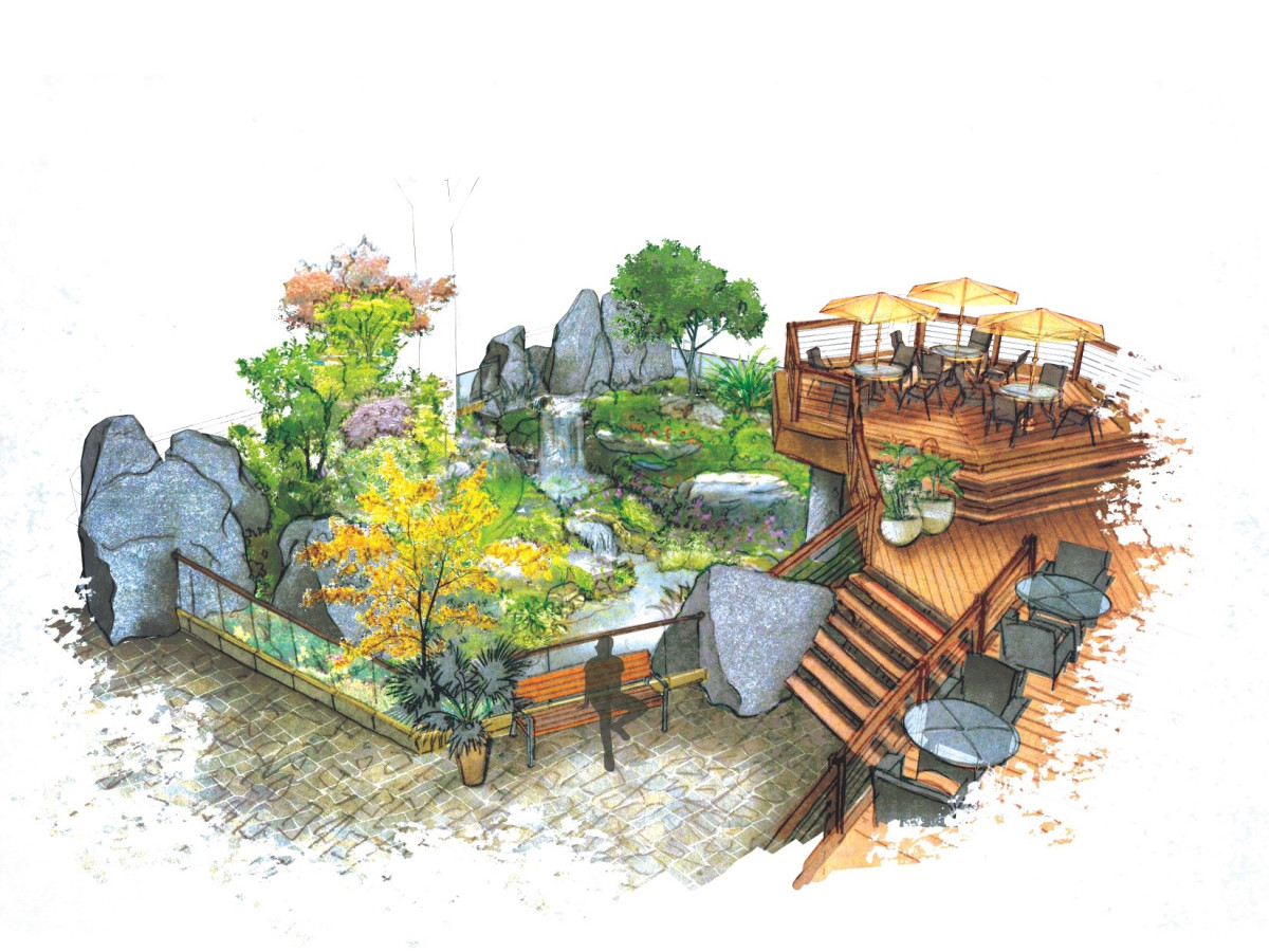 Heights Village development sunken garden drawing