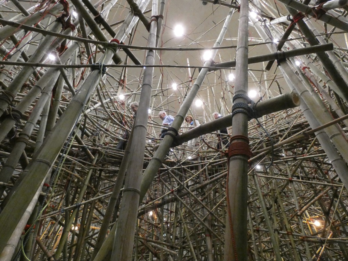 Mike + Doug Starn: Big Bambú This Thing Called Life, view from the ground