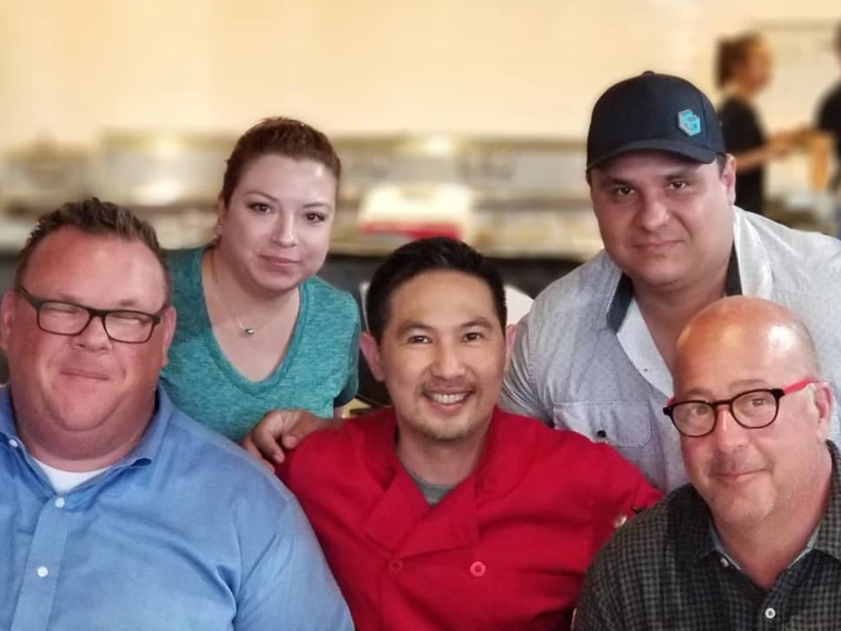 Andrew Zimmern Chris Shepherd Trong Nguyen Crawfish and Noodles