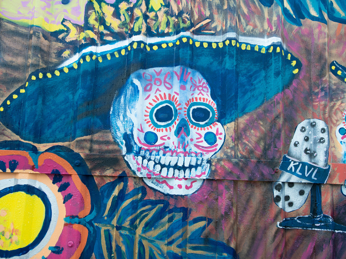 Muertos Mural Sombrero Skull