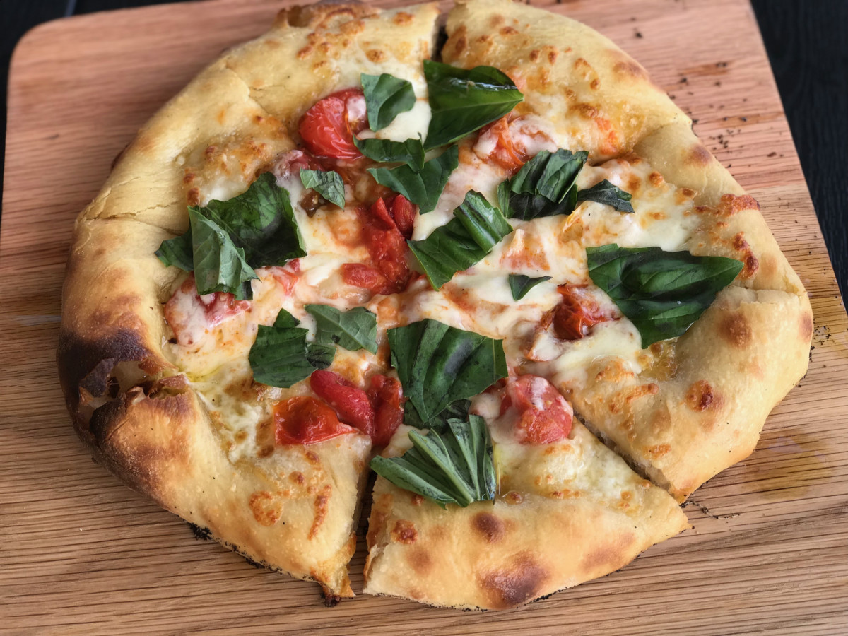 Saint Arnold beer garden margherita pizza