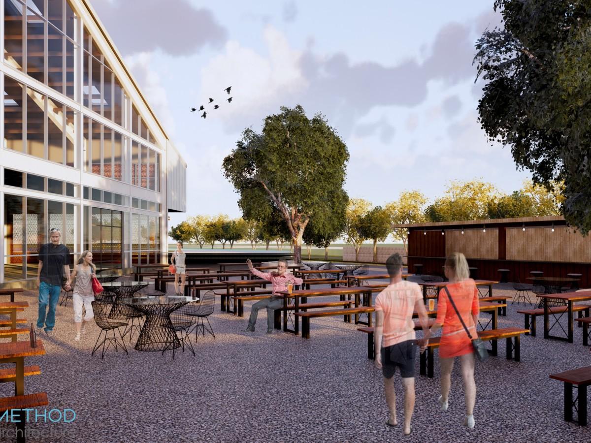 Railway Heights beer garden rendering