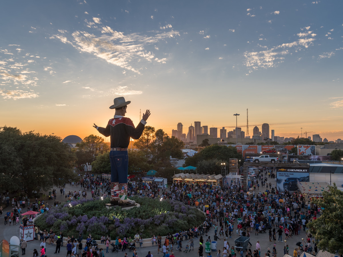 Big Tex and State Fair of Texas at sunset