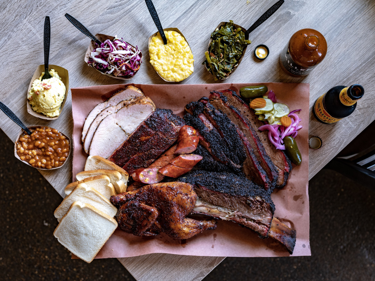 Killen's barbecue meat platter with sides