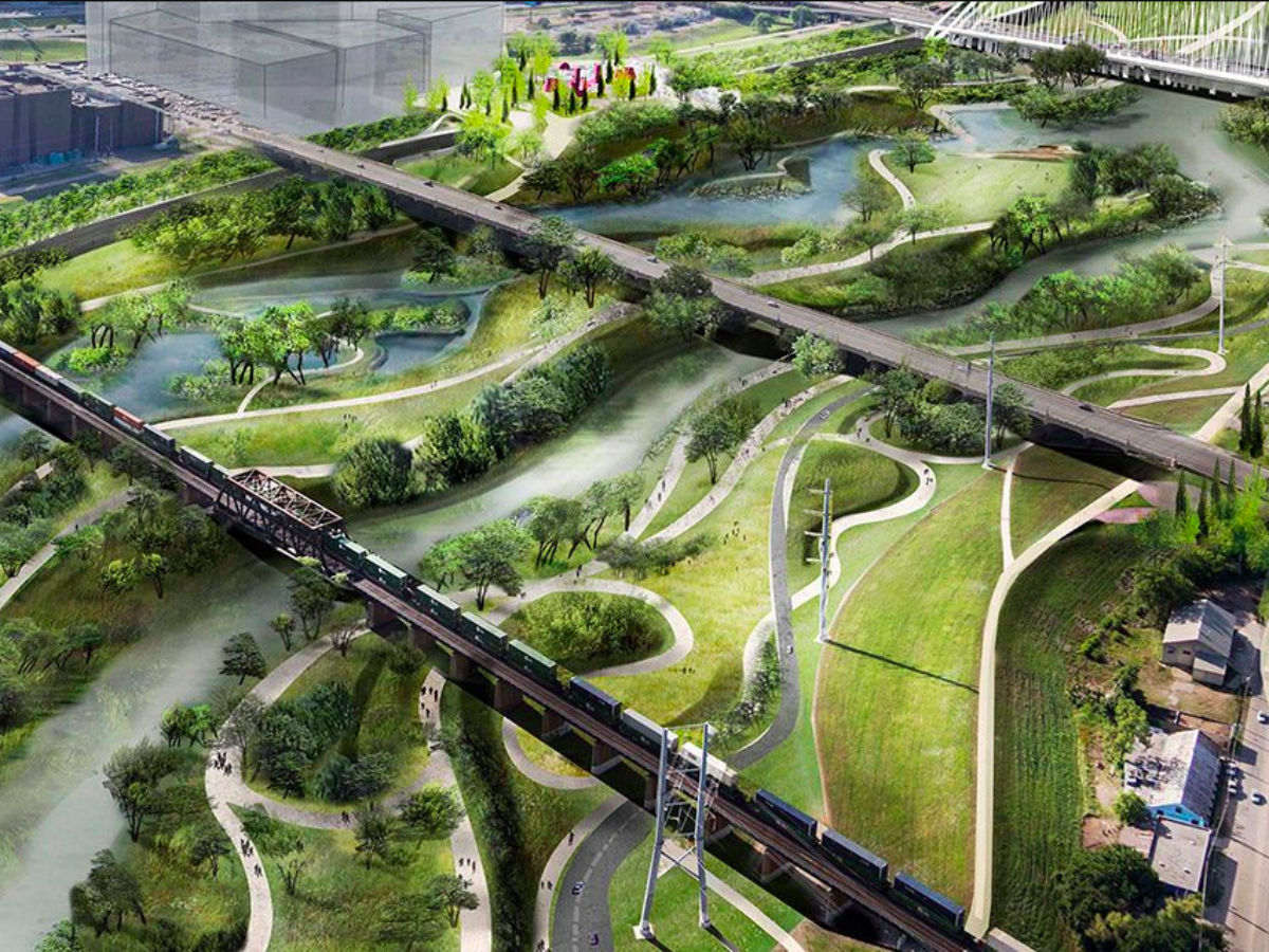 Rendering of Harold Simmons Park in Trinity River basin