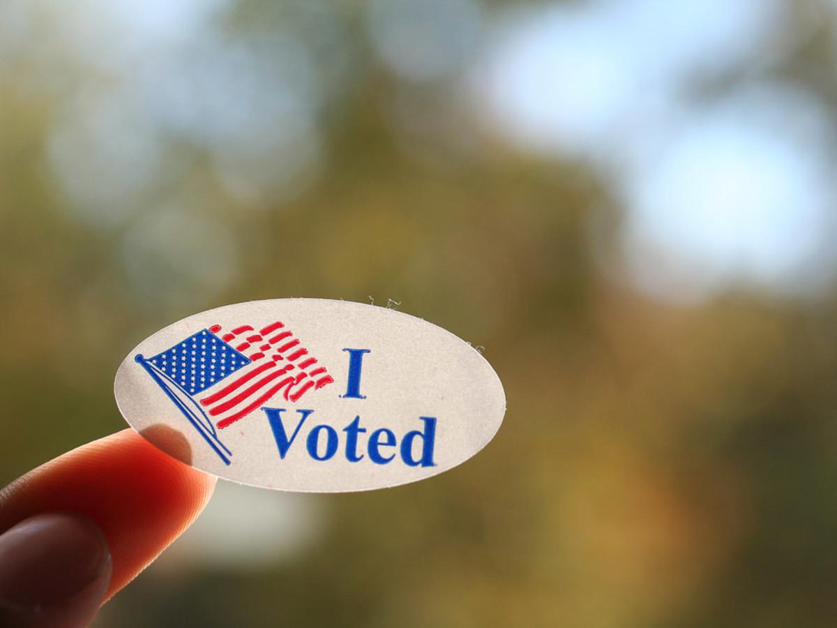 I voted sticker, American flag