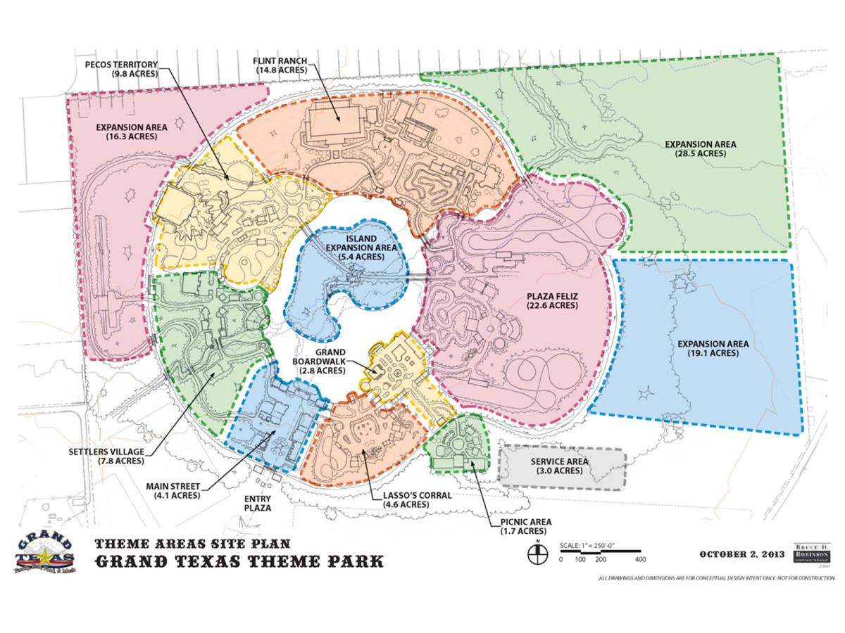 Grand Texas theme areas site plan