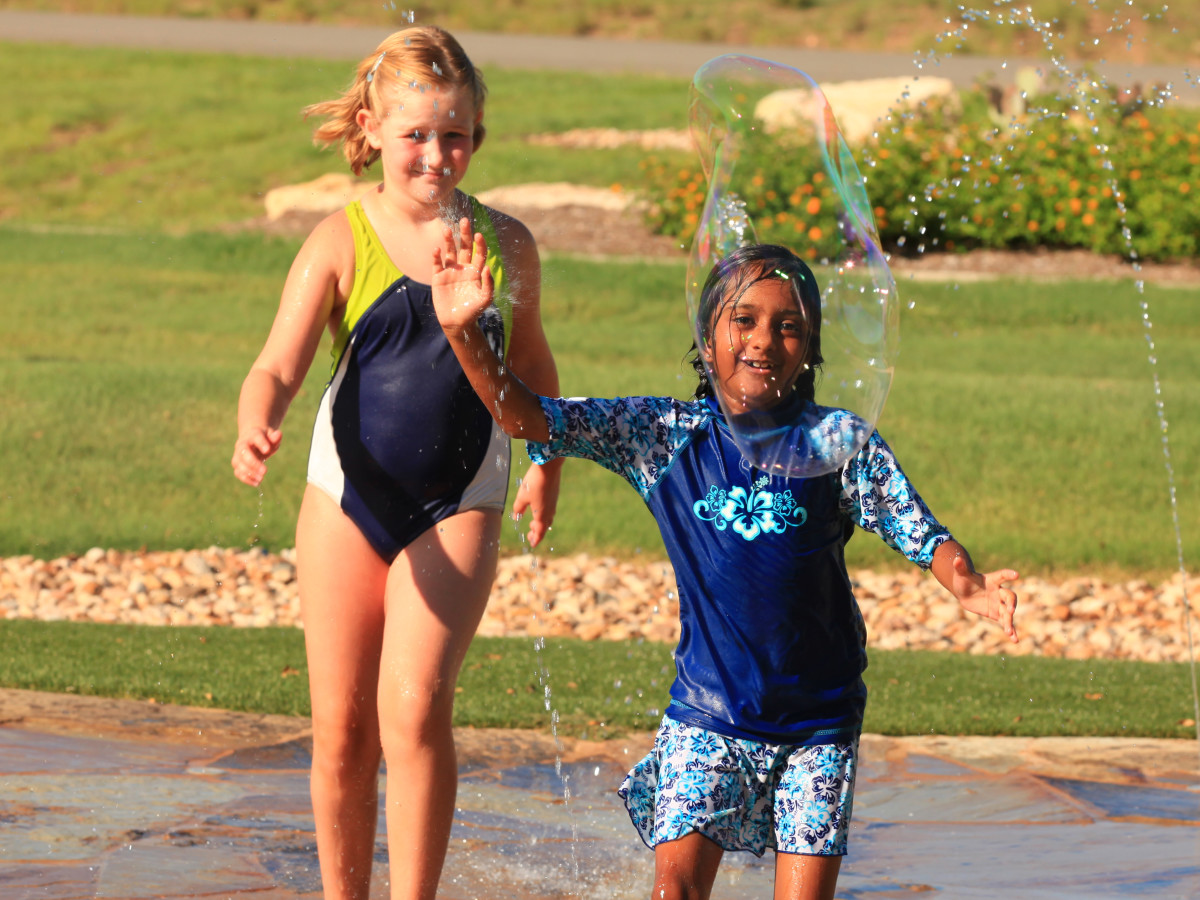 Kids on a splash pad