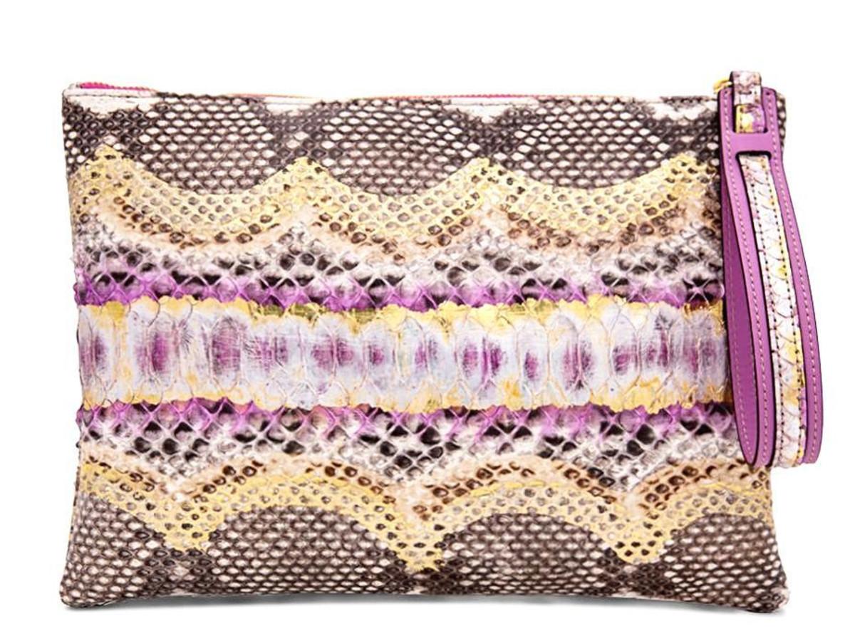 Ximena pink python clutch