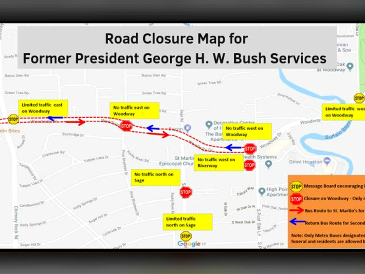 President George HW Bush road closures funeral viewing St Martin's Church
