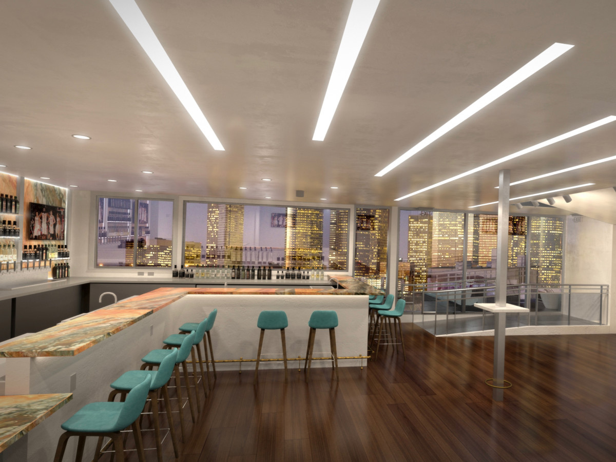 Sunset rooftop lounge interior rendering