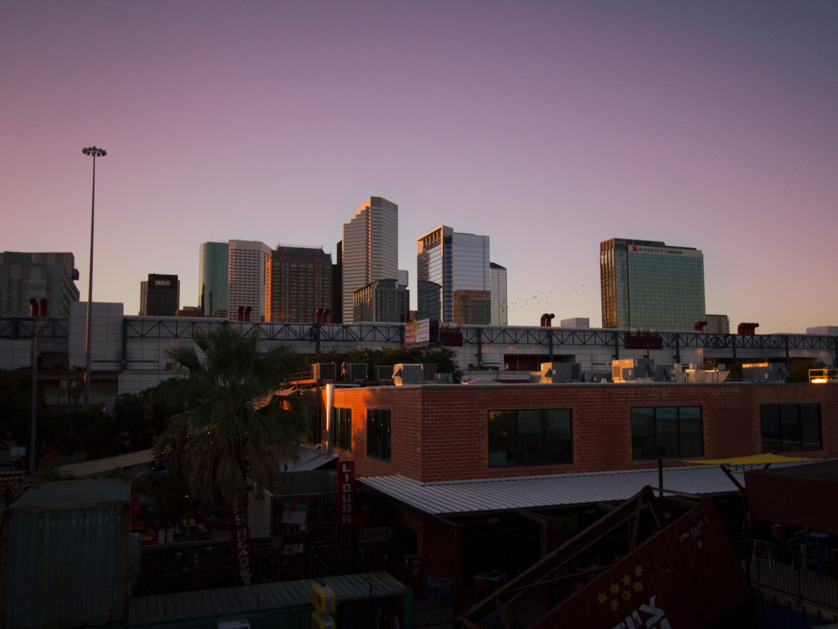 Sunset rooftop lounge view photo