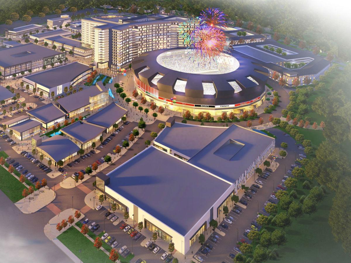 Rendering of new cricket stadium in Allen