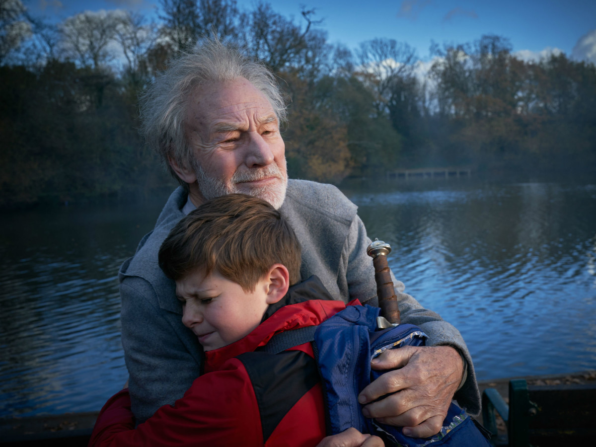 Patrick Stewart and Louis Ashbourne Serkis in The Kid Who Would Be King