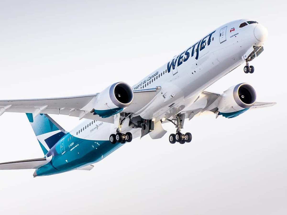 WestJet airplane sky