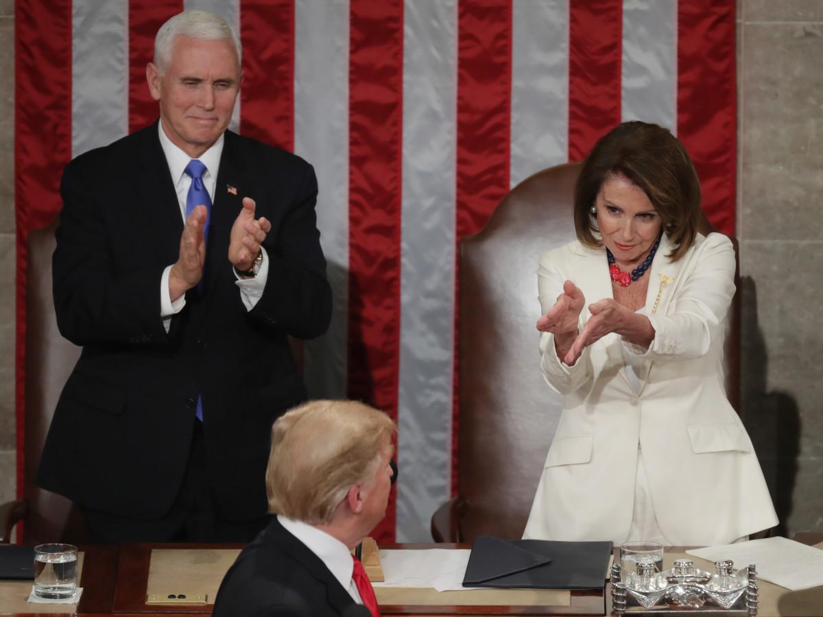 Nancy Pelosi state of the union clap mariquita masterson necklace houston